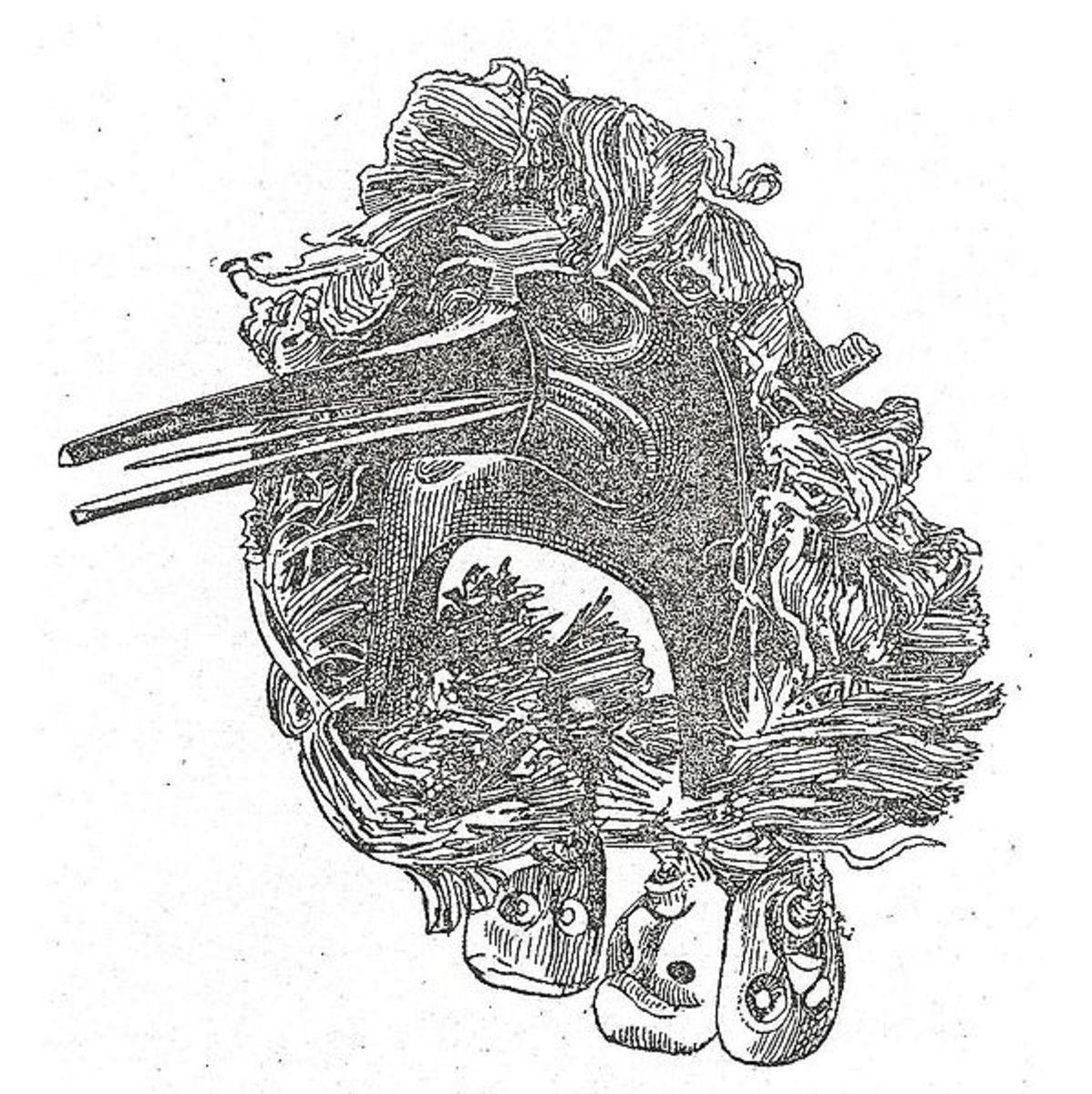 "Kwakiutl mask drawing from ""The Social Organization and the Secret Societies of the Kwakiutl Indians"", Boas (1897)"