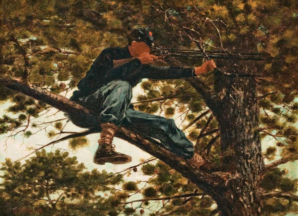 Artist Winslow Homer's depiction of a Berdan Sharpshooter in his tree perch, 1863