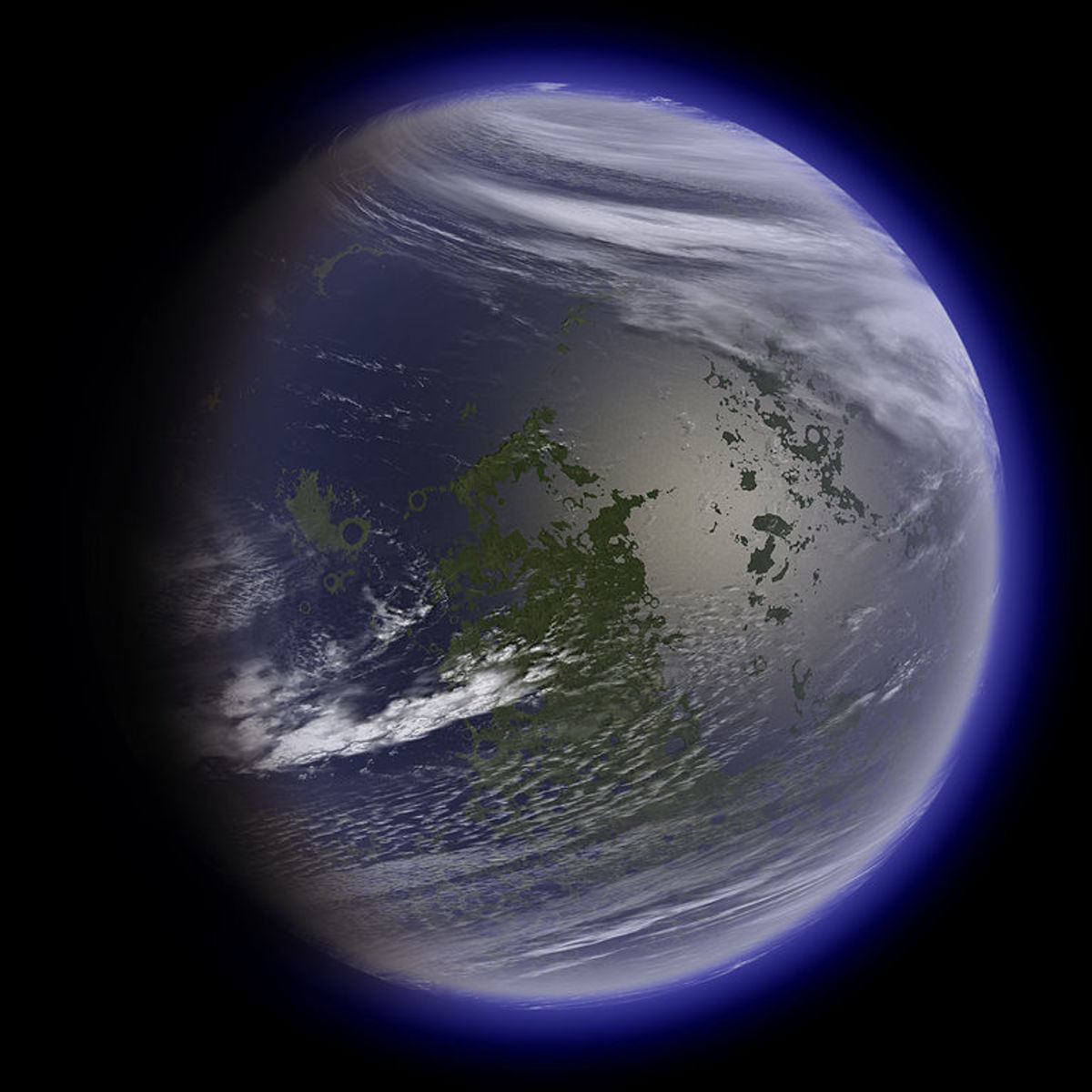 An artist's concept of what the moon could look like when terraformed.