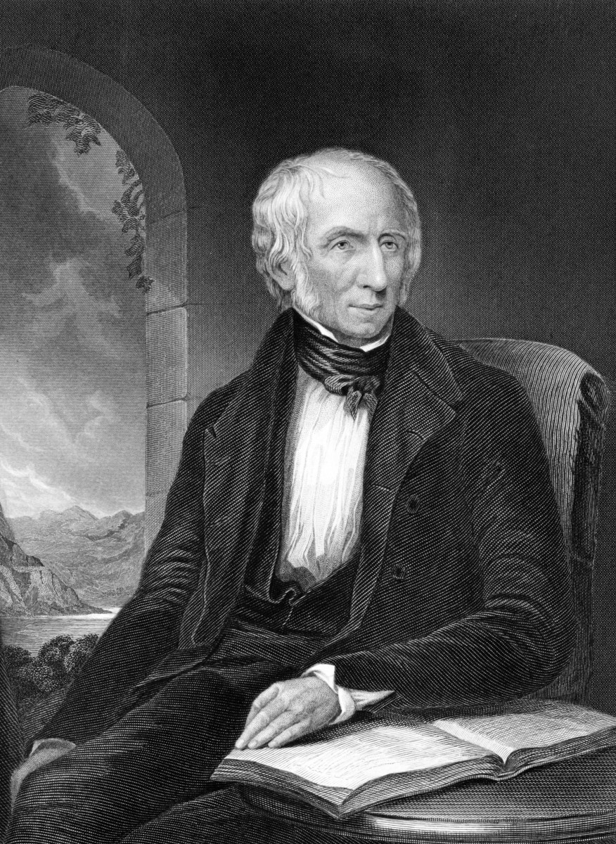 Black and white illustration of poet, William Wordsworth who was good friends with Coleridge.
