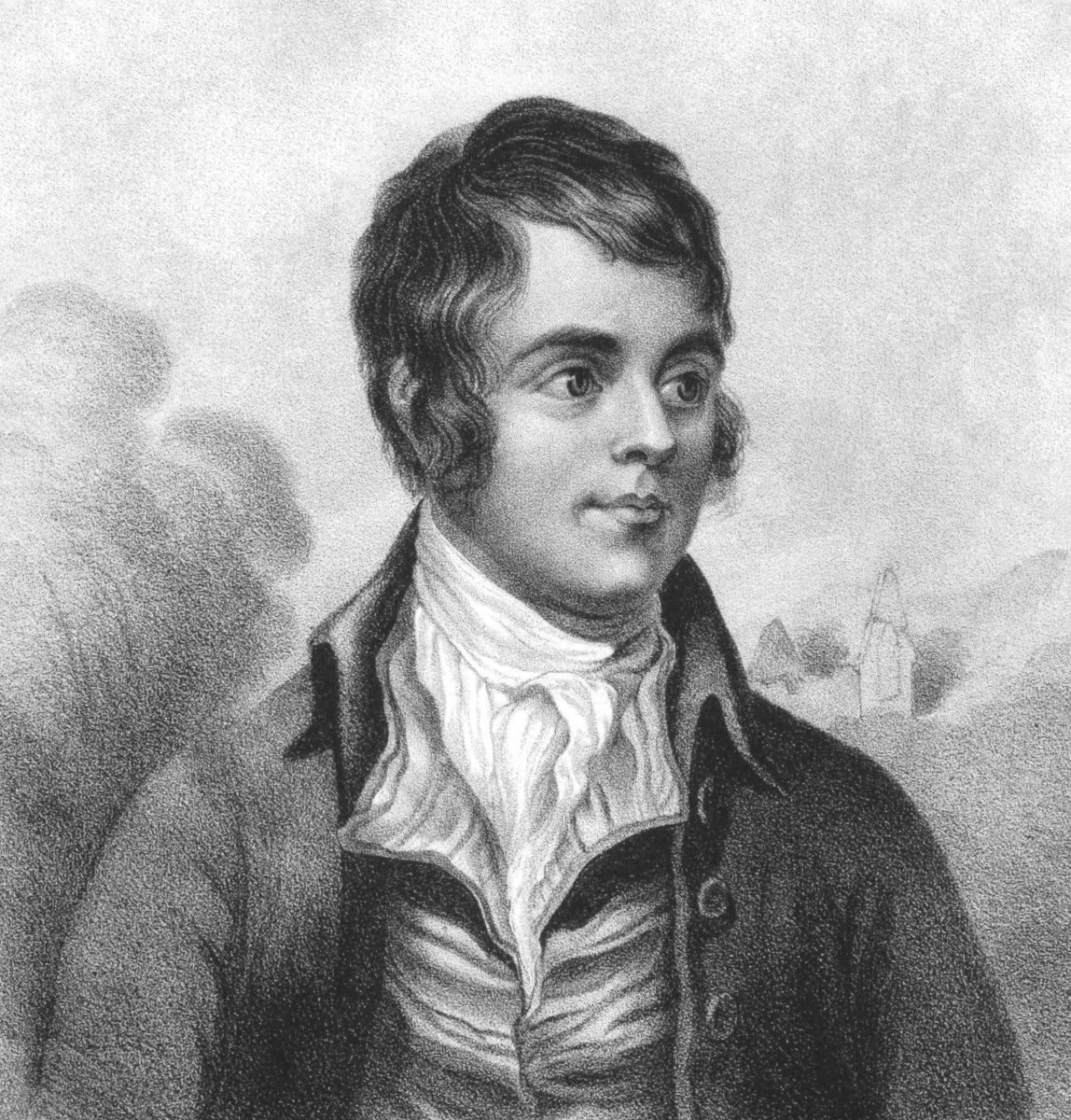 A black and white pencil sketch of the poet, Robert Burns, whose poems touched on  poverty and social class injustices.