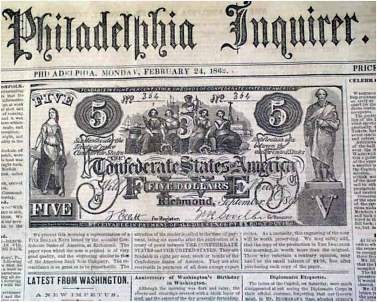 Philadelphia Inquirer front page, February 24, 1862