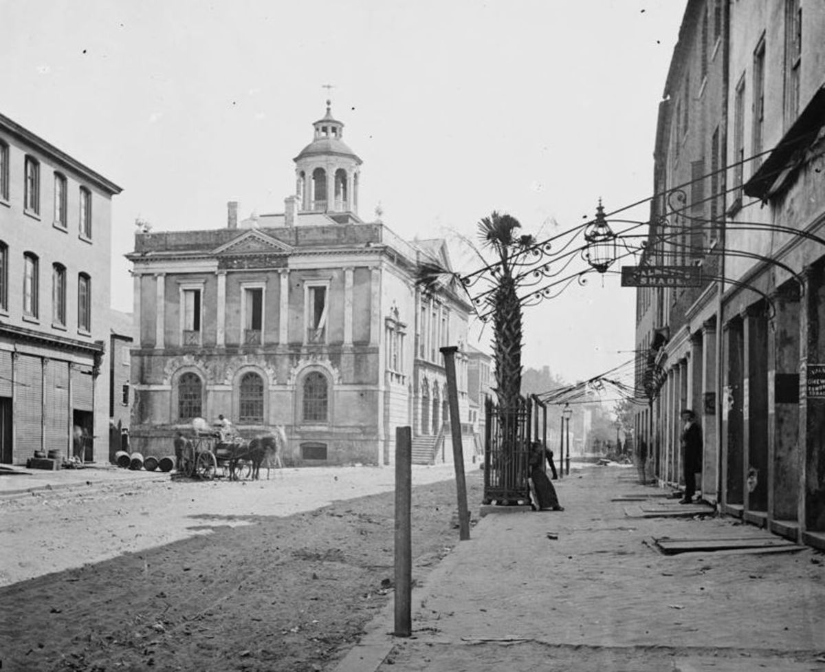 Charleston, SC, 1865: View of the Post Office building on East Bay Street