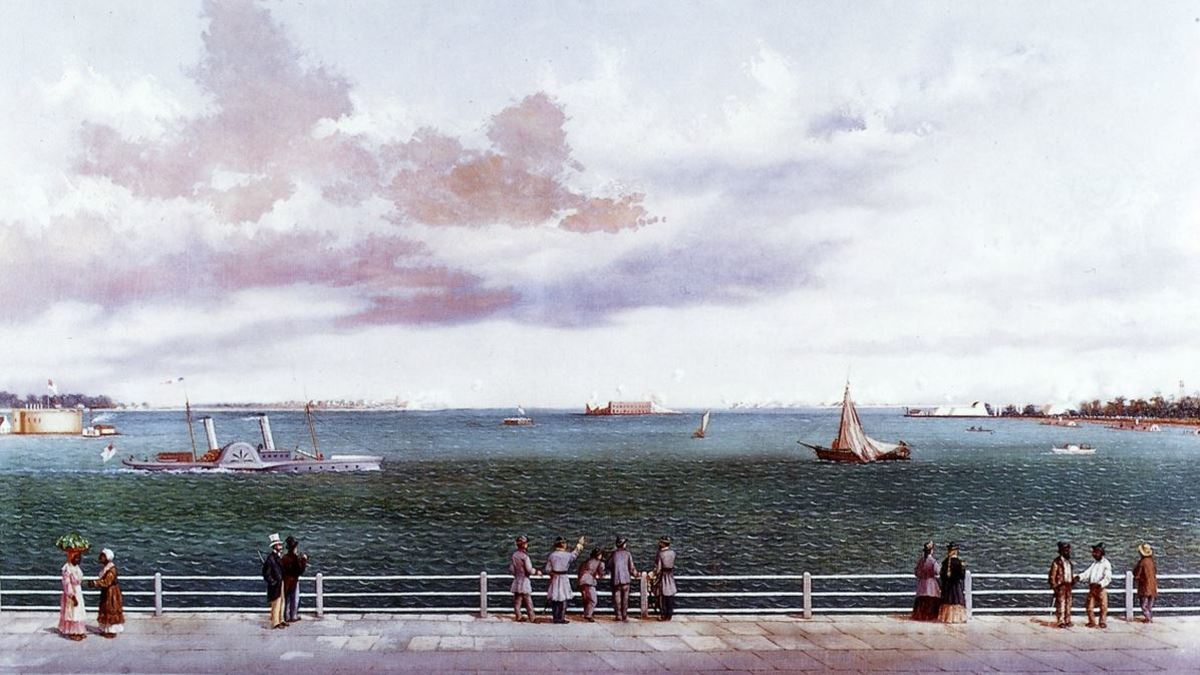 Charleston Harbor with Fort Sumter in the center. Painting by William Aiken Walker