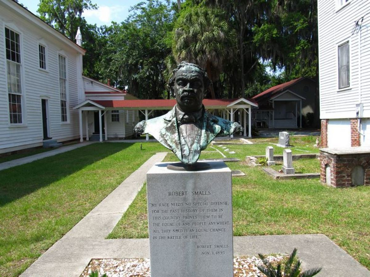 Monument to Robert Smalls at his grave site,  at Tabernacle Baptist Church in  Beaufort, SC.
