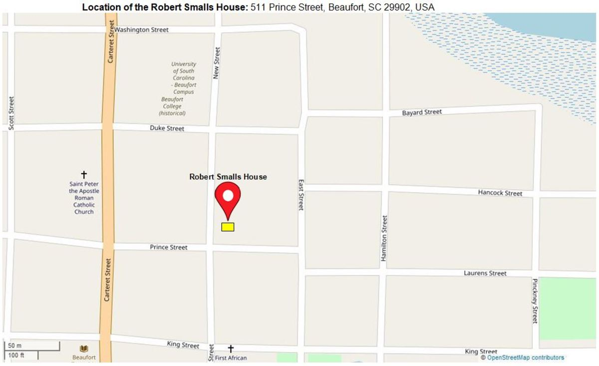Location of the Robert Smalls House: 511 Prince Street, Beaufort, SC 29902, USA