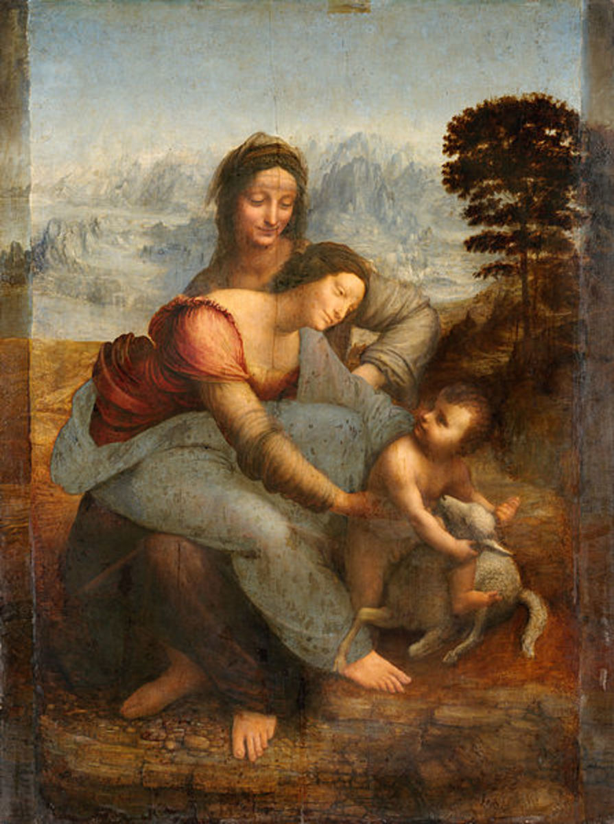 Leonardo, Virgin with St. Anne (1510), Paris Louvre - The organization of the group of figures may have influenced Michelangelo, who knowed the painting from an earlier panel.