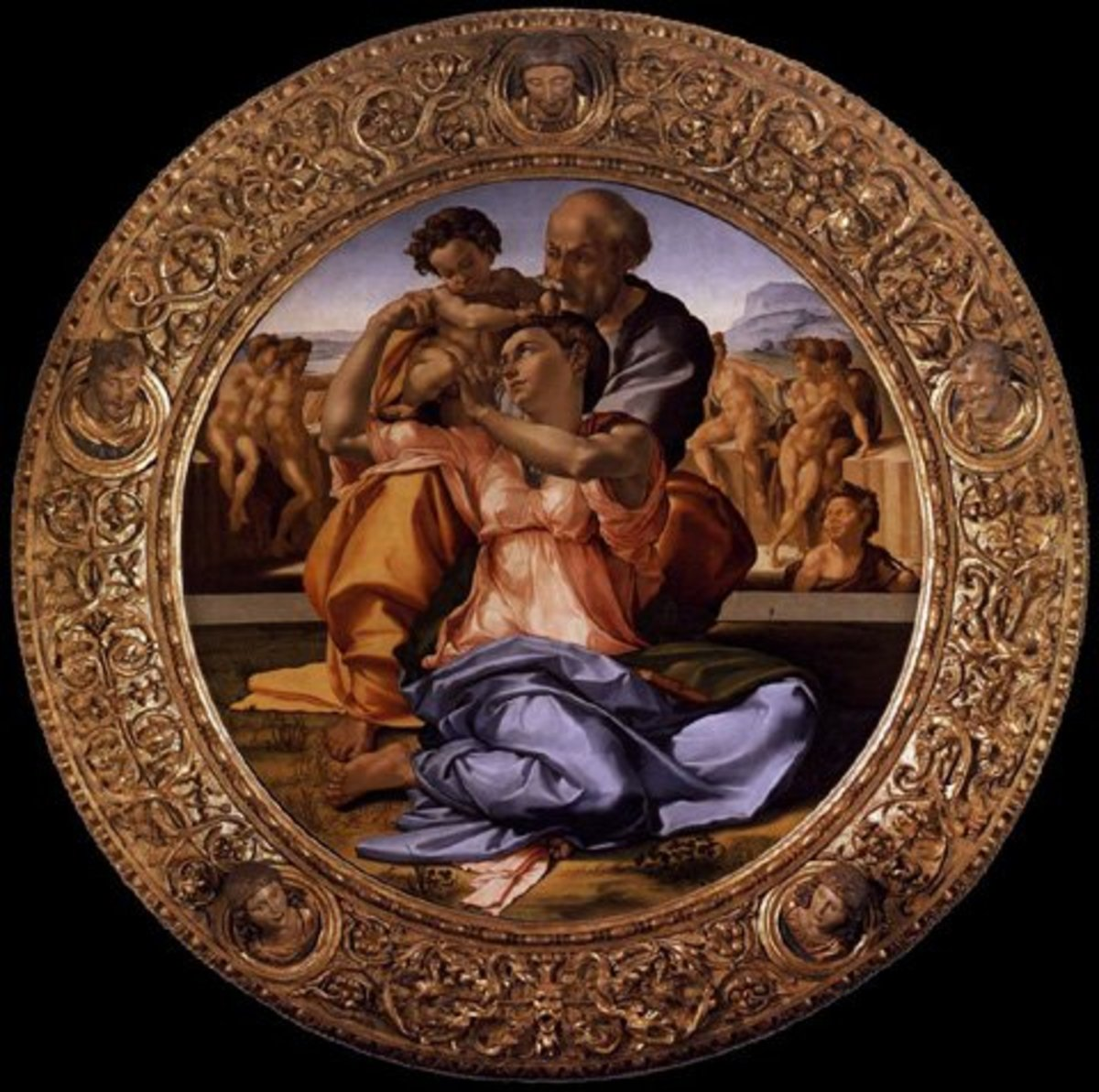 The Tondo Doni is still in its original frame, probably designed by Michelangelo himself and carved by skilled engravers (the Del Tasso)