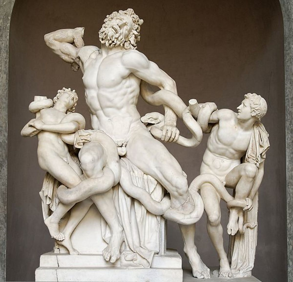 Laocoön with the sons, marble copy discovered nearby Rome in 1506 (I century b.C?), Vatican Museums