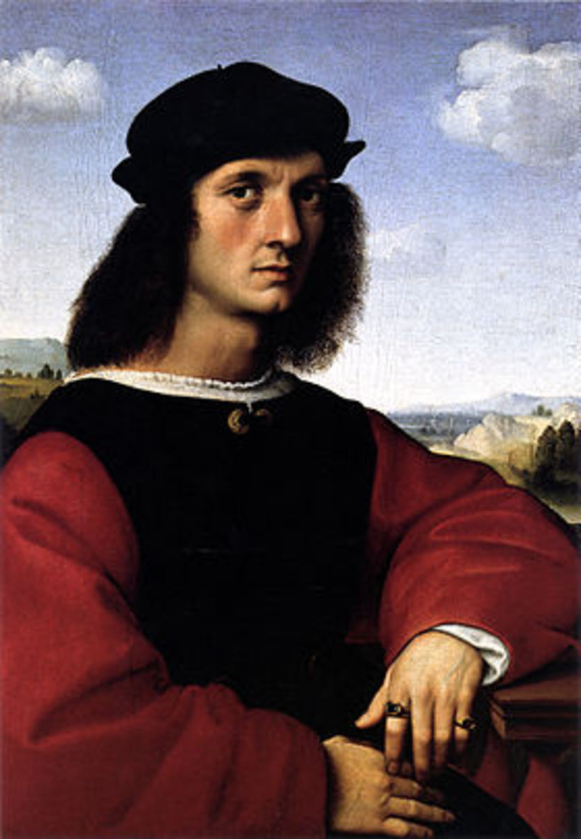 Raphael, Portrait of Agnolo Doni (a. 1506), Florence Galleria Palatina. Agnolo Doni has commissioned his own portrait and that of his wife Maddalena Strozzi after their marriage, in 1503.