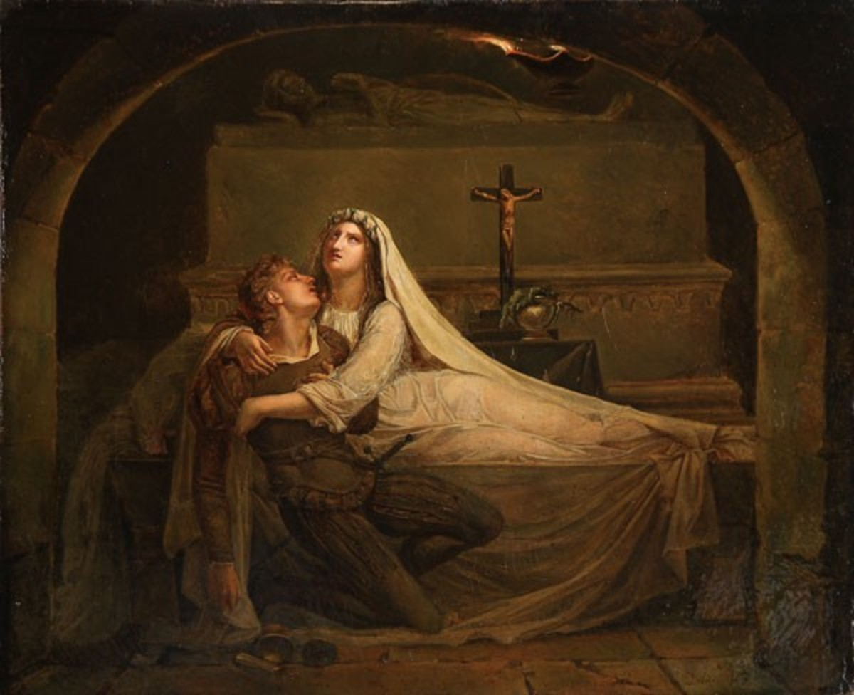 Juliet and  Romeo in the tomb
