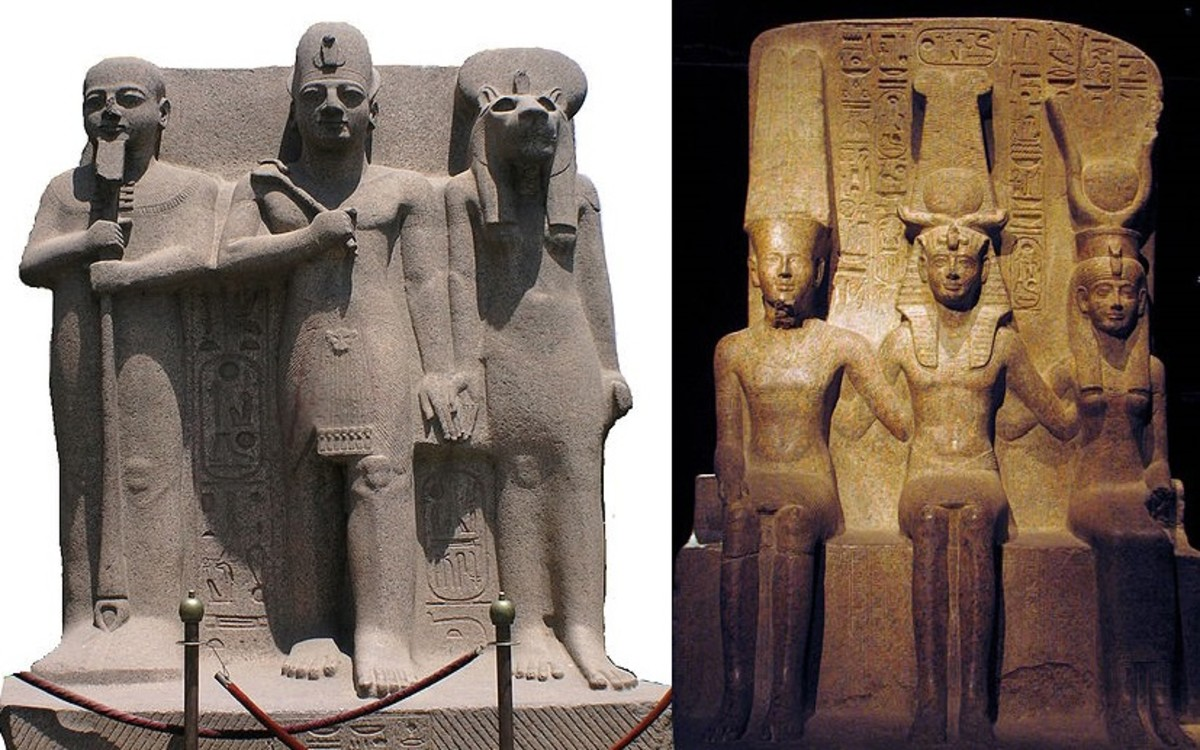 Ptah, Ramesses, Sekhmet left Amun, Ramesses, Mut right