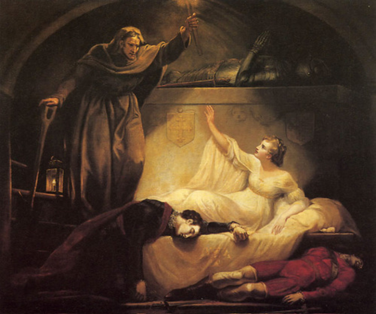Friar Laurence with Romeo and  Juliet