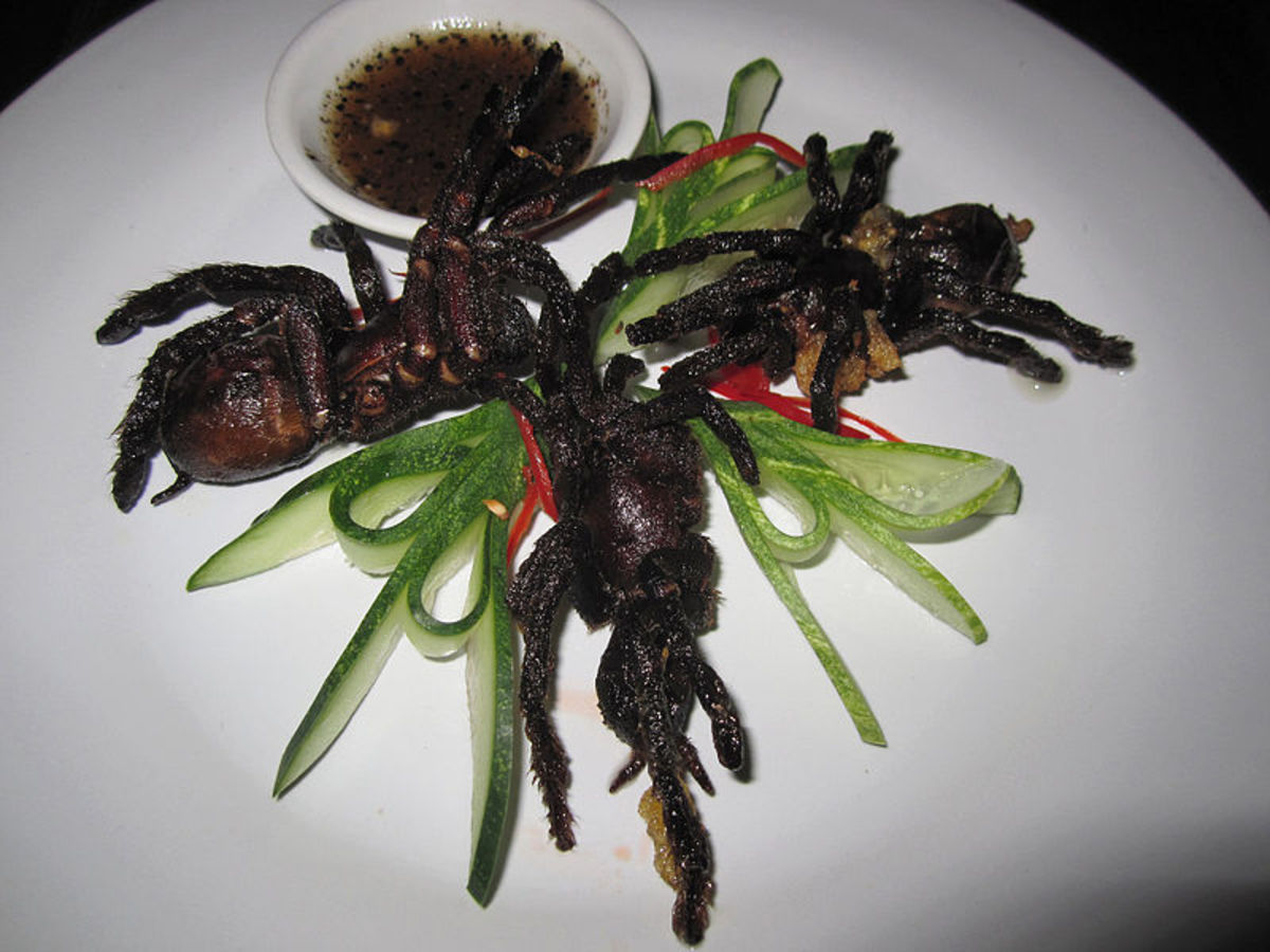 Crispy, fried tarantulas are said to taste like crab meat and are a very popular snack or appetizer in Cambodia.
