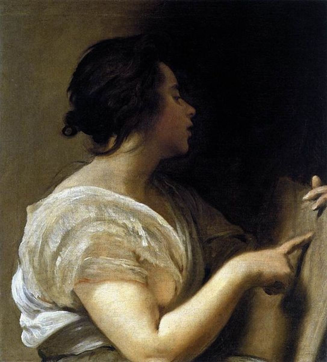 A detail from a painting by Diego Valaquez, showing the artist's impression of the beautiful weaver, Arachne.
