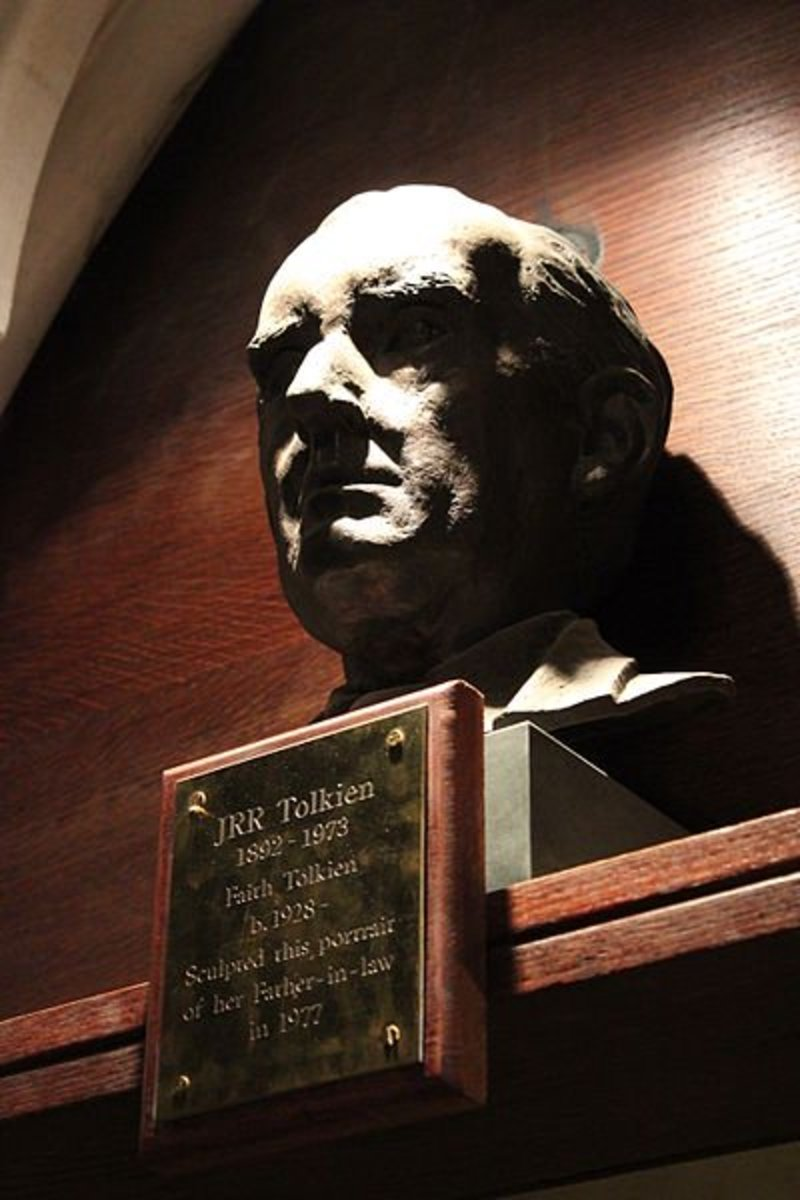 J R R Tolkien was the author of The Lord of the Rings and inventor of the giant spider, Shelob. This bust was sculpted by Faith Tolkien and is on display in his hometown of Oxford, England.