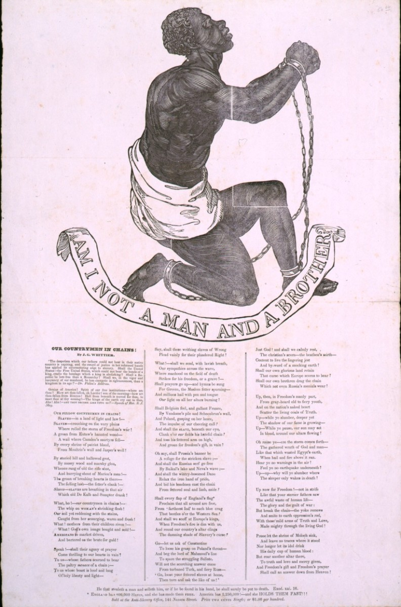 Broadside publication of John Greenleaf Whittier's poem Our Countrymen in Chains. The design was originally adopted as the seal of the Society for the Abolition of Slavery in England in the 1780s, and appeared on several medallions for the society ma