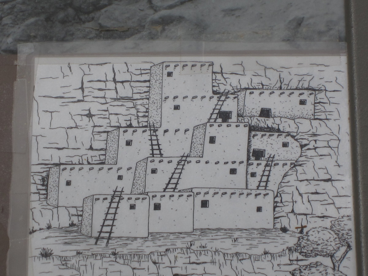 Artist Rendering of Castle A that was built against the cliff wall just to the west of Montezuma Castle