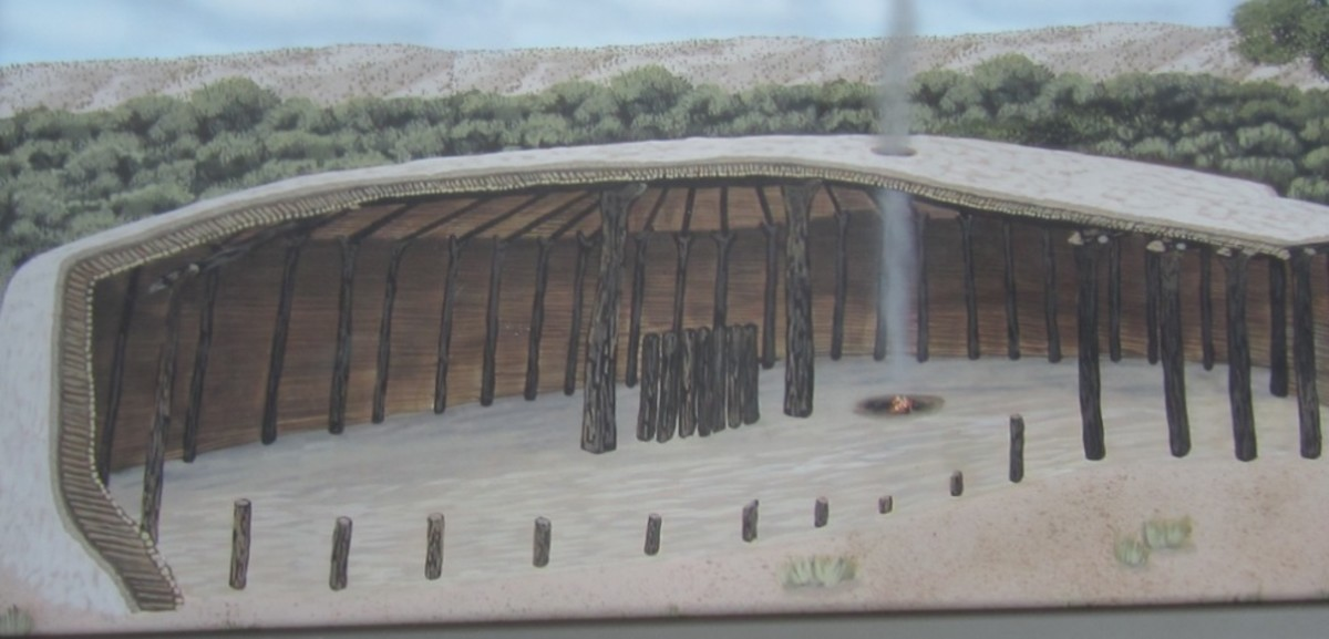 Artist Drawing of a Pit House that existed about 1050 A.D.  Drawing is on a sign at Montezuma Well National Monument