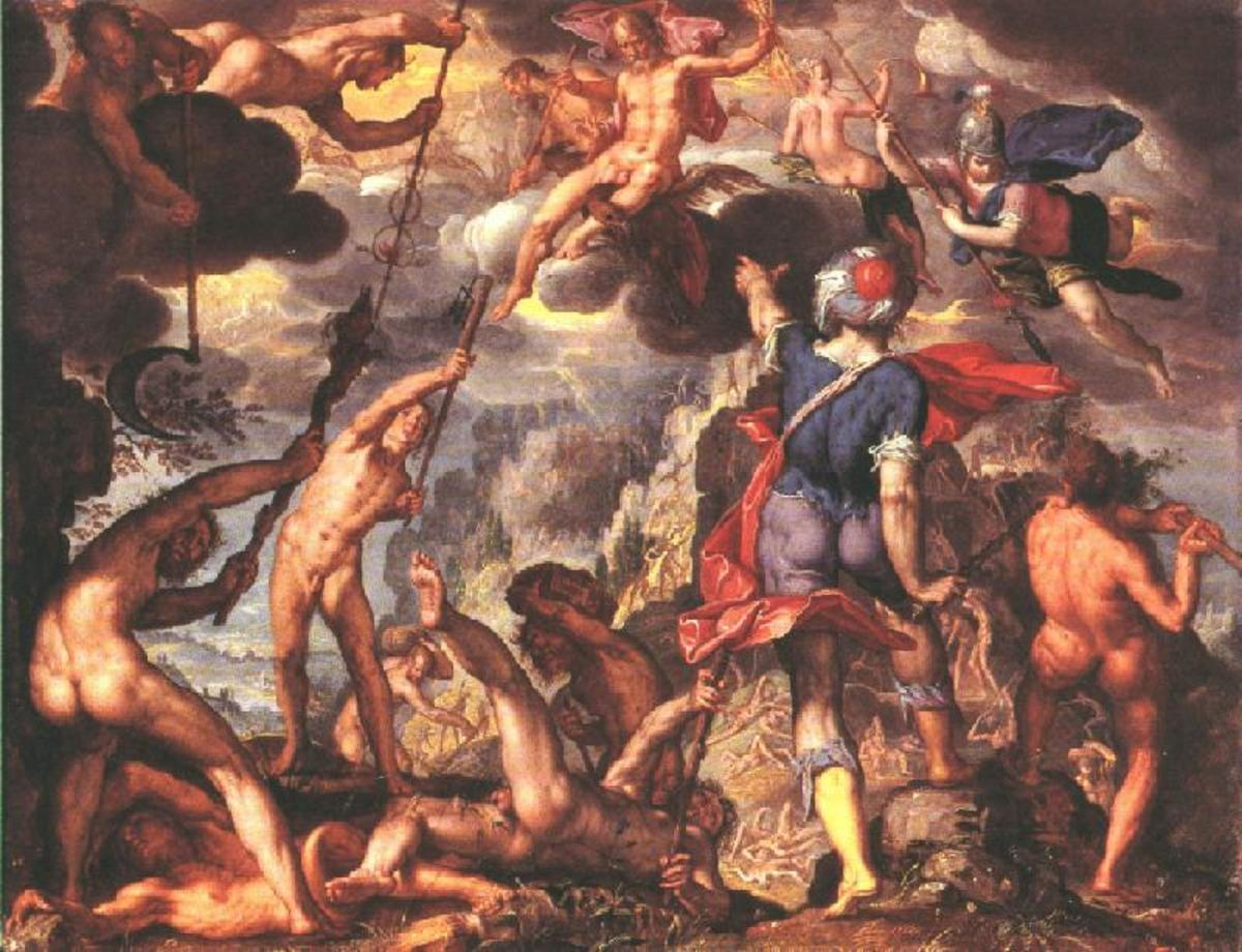 Joachim Wtewael - The Battle Between the Gods and the Titans PD-art-100