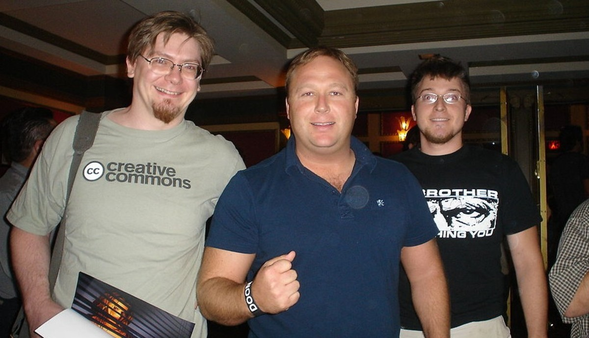 The increasingly popular conspiracy theorist, Alex Jones (center), is increasingly being branded a fake or `double agent'.