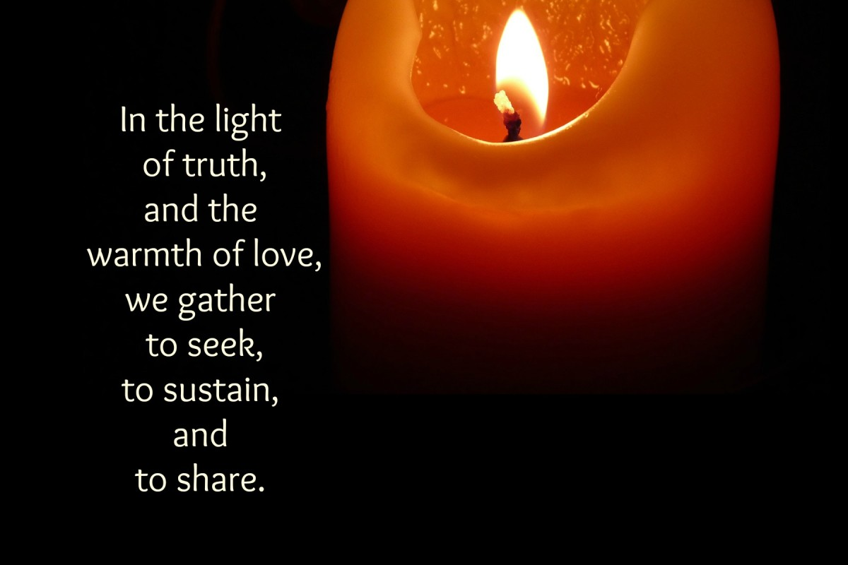 A candle is placed in the chalice and lit, and the congregation speaks an affirmation in unison.