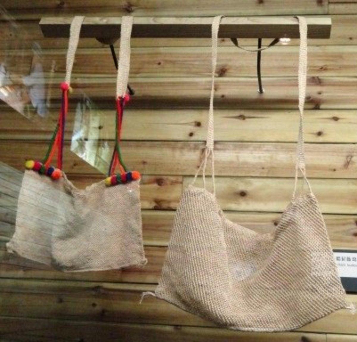 Tote bags made from woven kudzu fiber.