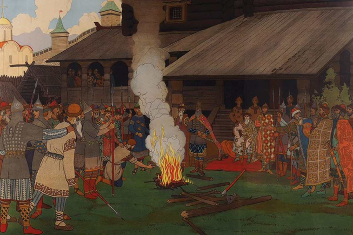 A depiction of ancient Rus delivering their form of justice. The accused must pull a hot iron out of the fire. If he does so without being burnt, he is innocent. Else, he gets the sword, which the Grand Duke clutches in readiness.