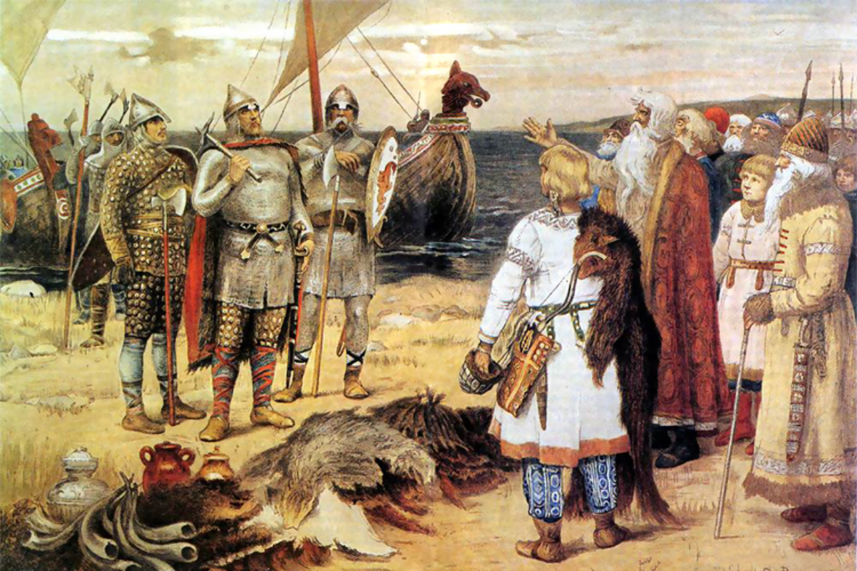 Legendary Viking leader Rurik arrives to take control of Staraya Ladoga, a prosperous trading post. The painting shows the locals inviting Rurik to rule over them. In reality, there was probably violence involved.