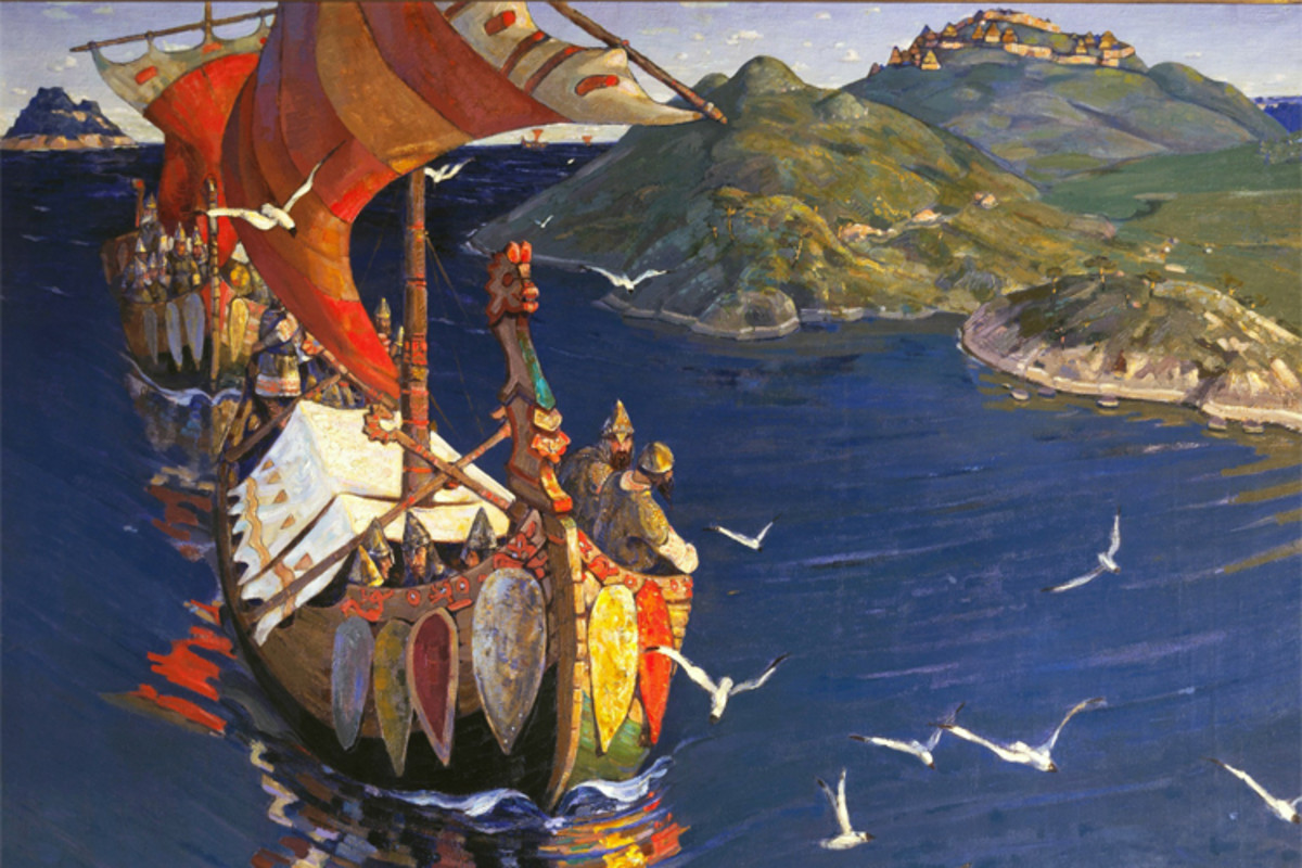 """Nicholas Roerich's painting """"Guests From Overseas"""" depicts Norse ships bound for Novgorod in good weather conditions, inspired by his own sea voyage to Novgorod a few years earlier."""