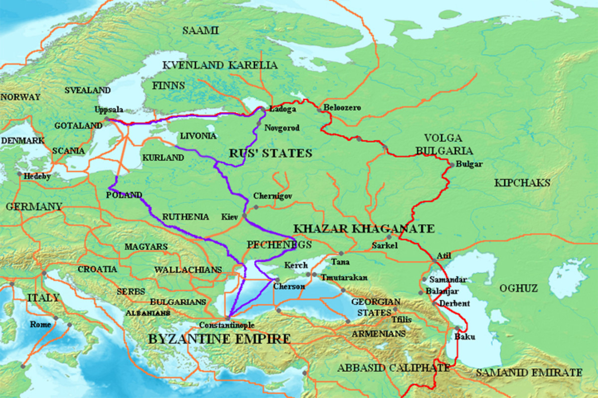 The Viking trade routes of the East. The red line shows the route to the Arab Caliphates, while the purple line shows the route taken to Constantinople.