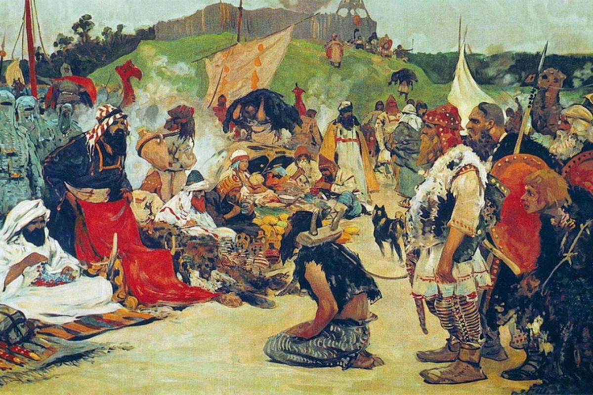 Vikings presenting slaves for purchase.