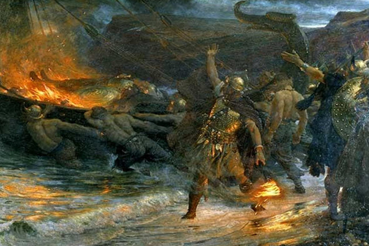 Arab writer Ibn Rustah described a Viking funeral, which included the ritual burning of a slave girl along with her master.