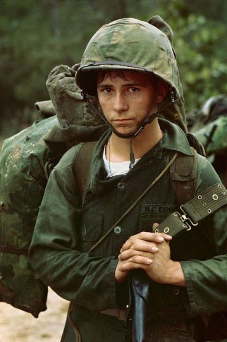Young American soldier in the Vietnam War.  There is a myth that the average age of US soldiers killed in Vietnam was 19 years of age, but the true figure is actually 22.  Still young, but not teenage.