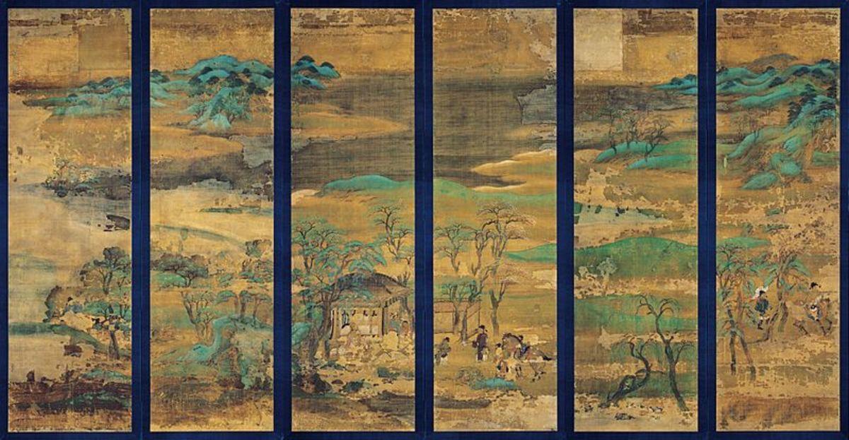 Late Heian landscape screen, silk.