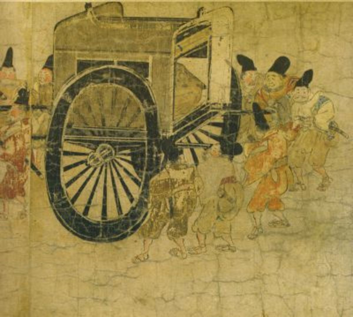 Ban Dainagon Ekotoba, 12th century illustrated scroll showing an ox cart, the usual method of travel for the Heian aristocracy.