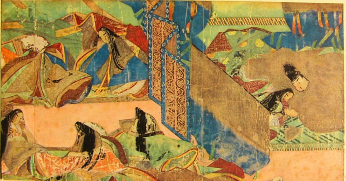 An illustration from a twelfth century scroll of the novel Genji Monogatari, the favourite reading of Lady Sarashina.