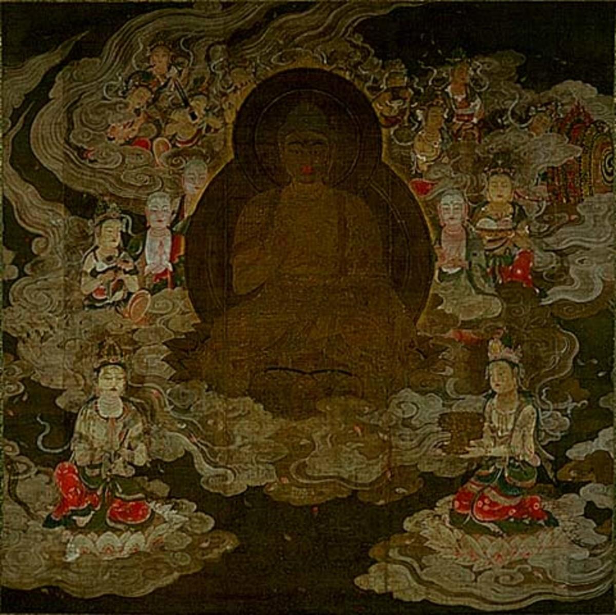 Late Heian portrayal of the Amida Buddha, painted on silk.