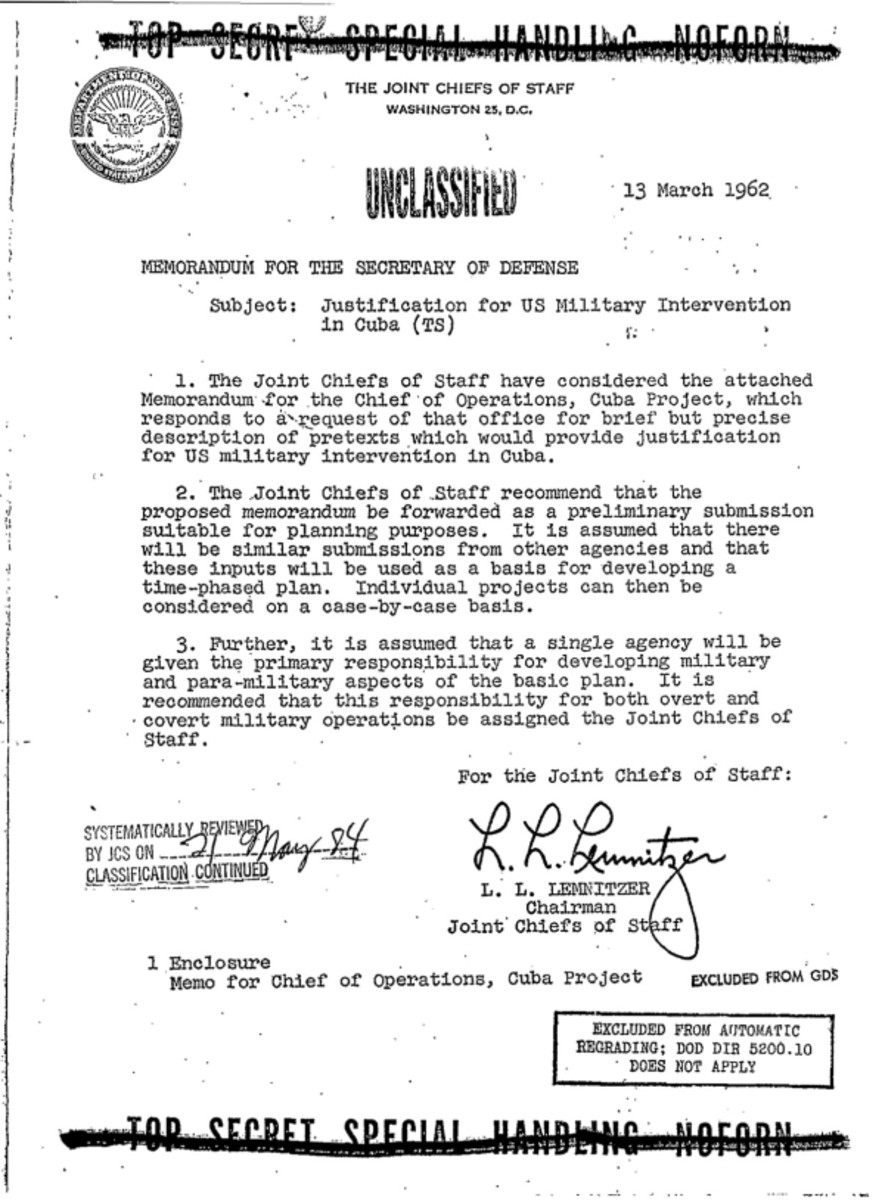 Photo of Page 1 Northwoods Memorandum for the U.S. Secretary of Defense (March 13, 1962)