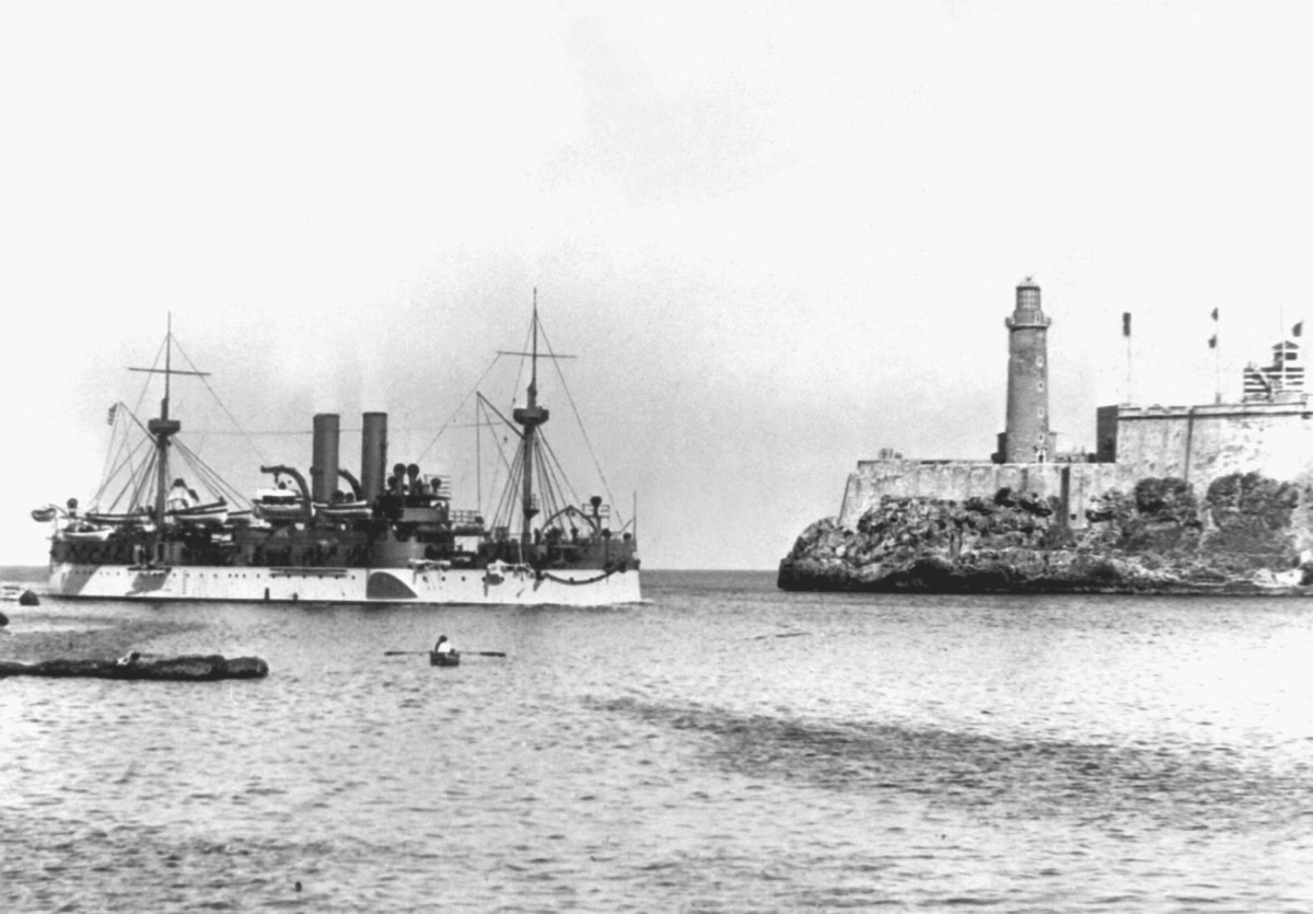 Battleship USS Maine entering Havana Harbor on January 25, 1898. On February 15, 1898 the Maine exploded and sank under mysterious circumstances, killing 266 sailors. There were 89 survivors.