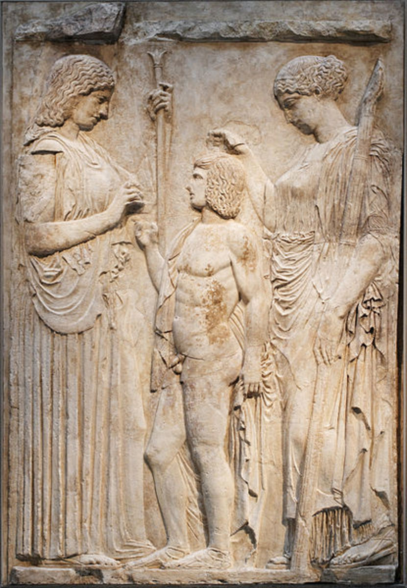 Roman copy of Greek original found at Eleusis, showing Demeter, Persephone and Triptolemus.
