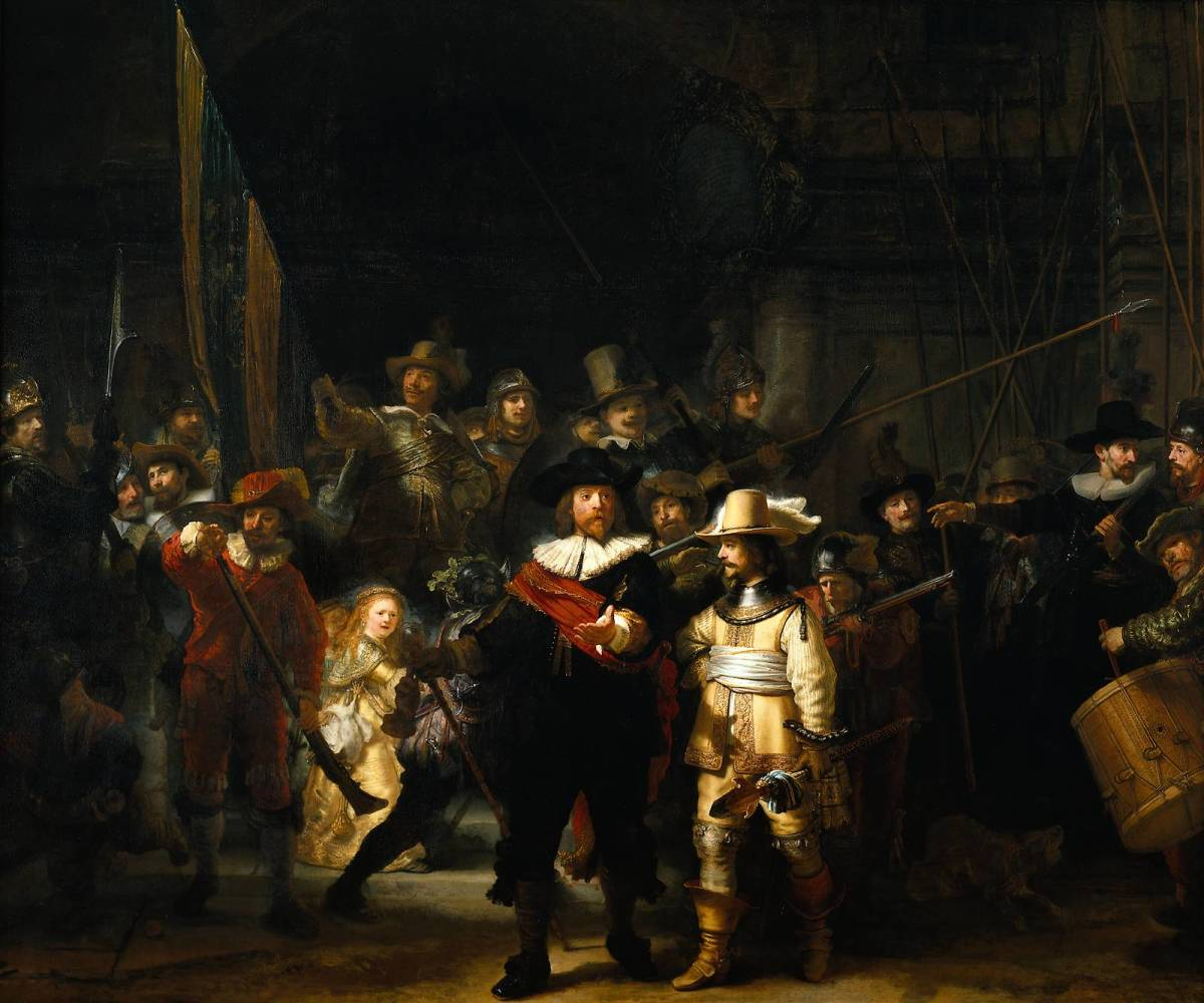 The most famous painting work by Rembrandt known as The Night Watch which portrays a group portrait of a militia company.