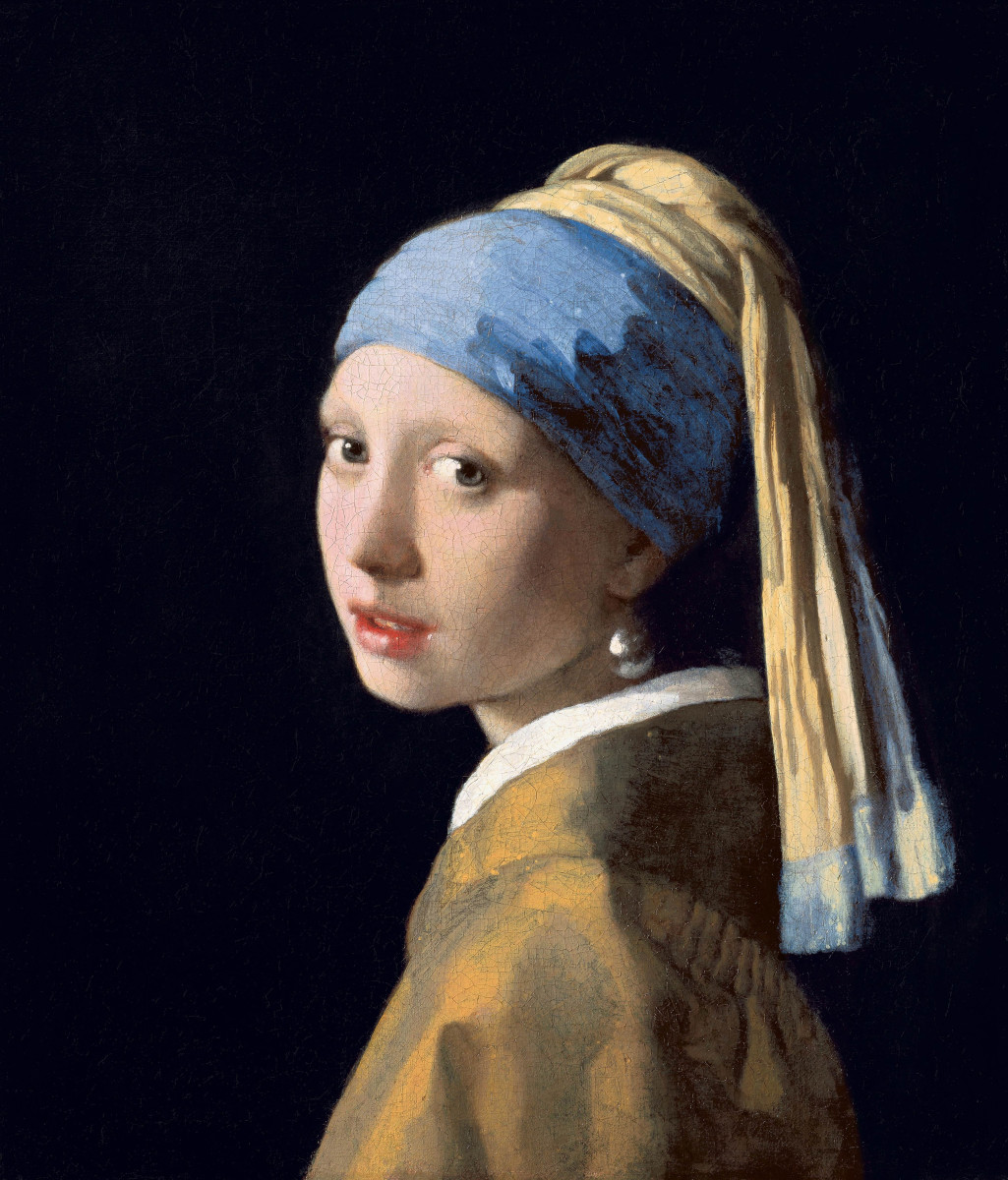 17th century Dutch painter Johannes Vermeer painted her daughter Maria wearing blue headscarf and pearl earrings, using oil and canvas.