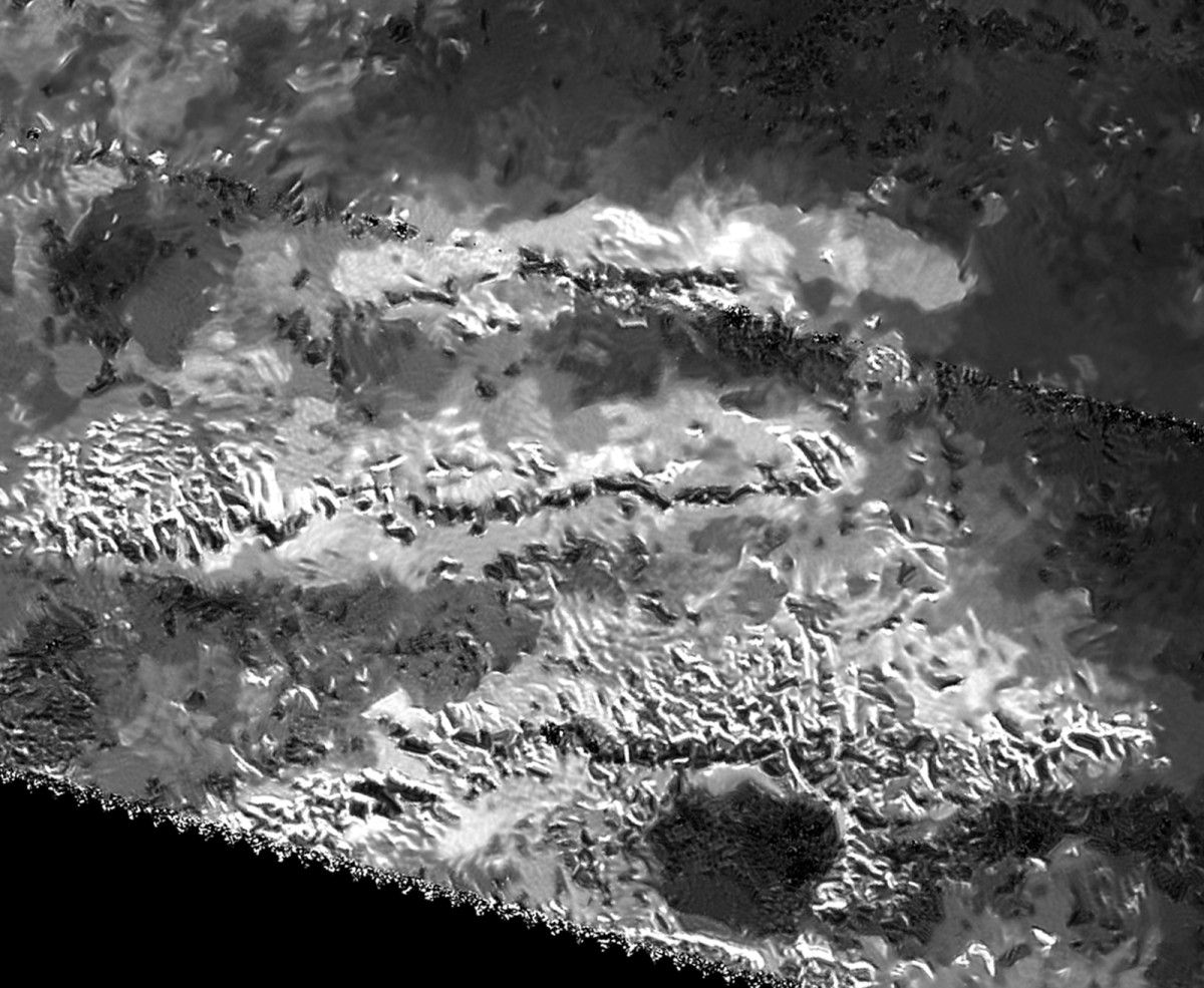 Mithrim Montes, the tallest mountains on Titan at 10,948 ft., as revealed by radar images.