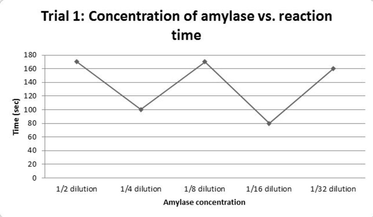 Figure 2 First trial: how the time needed for complete starch digestion changes as you decrease amylase concentration via a serial dilution. In all cases the sample needed to completely observe the reaction ran out before the I2KI could completely tu