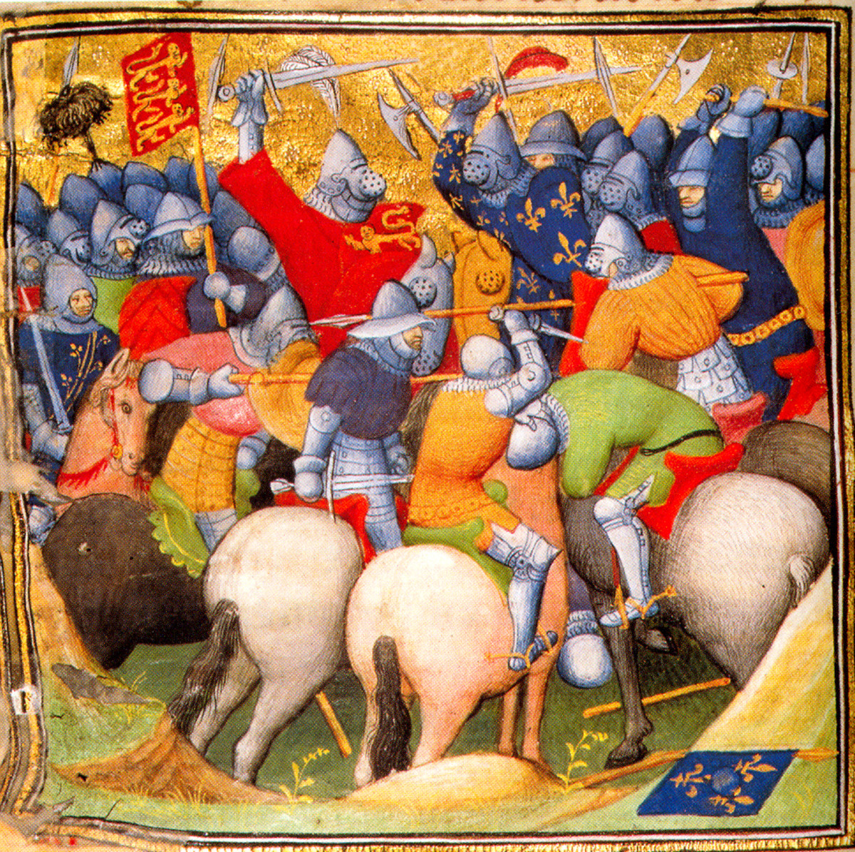 English and French knights fighting at the Battle of Crécy in 1346. The king could call on his barons to form an army at times of war. Knights and nobility would normally be mounted on horses, while the peasantry went to war on foot.