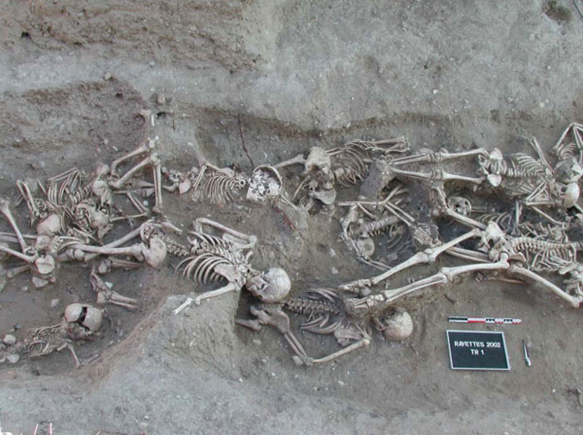 Victims of the bubonic plague in a mass grave in Martigues, France.  The Black Death was one of the the most devastating pandemics in human history. It arrived in Europe in 1347 and played a part in bringing about the end of Feudalism.