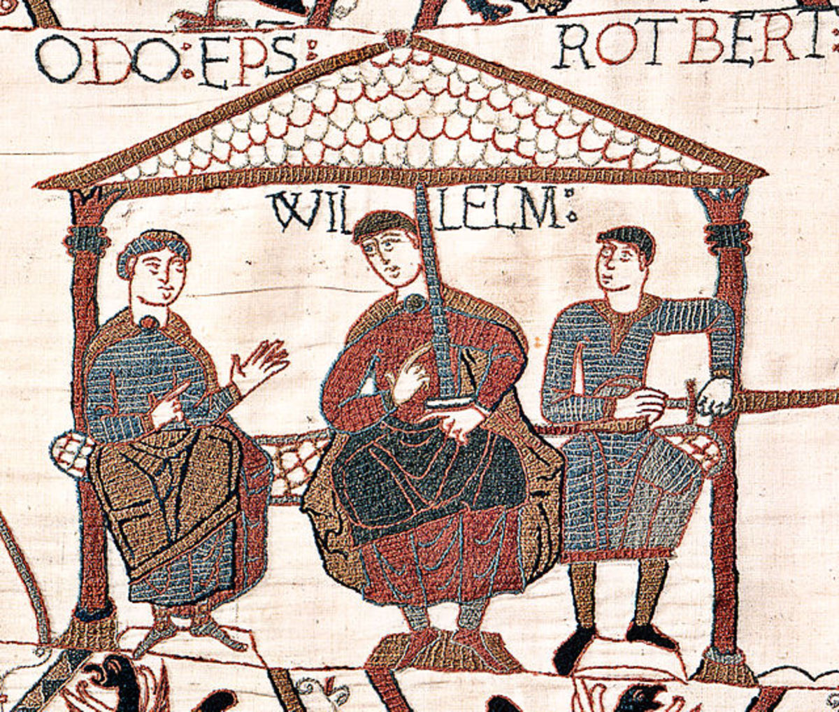 Image from the Bayeux Tapestry showing William the Conqueror (also sometimes referred to as William the Bastard) with his half-brothers. William is in the center, Odo is on the left with nothing in his hands, Robert is on the right holding a sword,