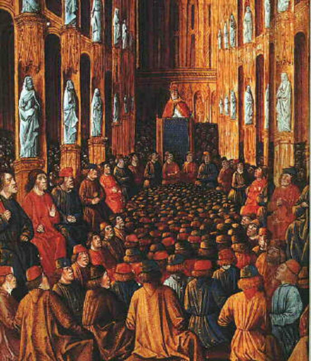 Manuscript illumination dating around 1490 showing Pope Urban II at the Council of Clermont (1095), where he preached the First Crusade.  The catholic church and the papacy were very powerful in the feudal period, often rivaling or usurping royalty.
