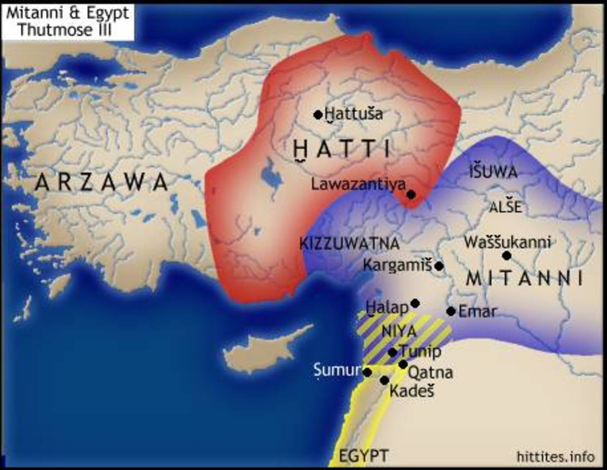 This map shows the locations of the Hittite Empire and Mitanni Civilizations at their heights.